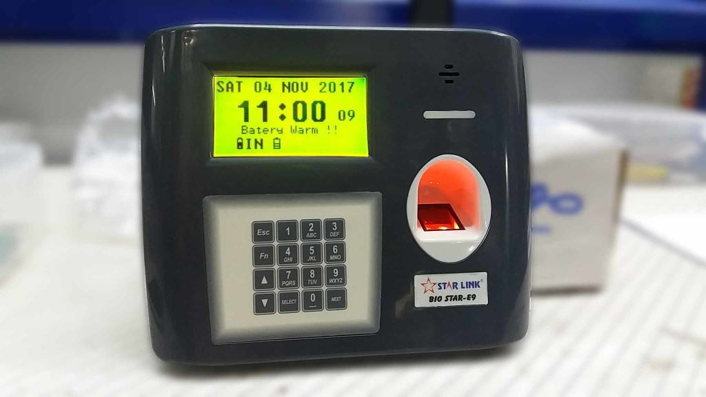 biometric machine battery, biometic system backup, biometrics, biometric battery, fingerprint attendance, battery operated time clock
